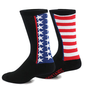 Cody James Men's American Flag Crew Socks, Black, hi-res