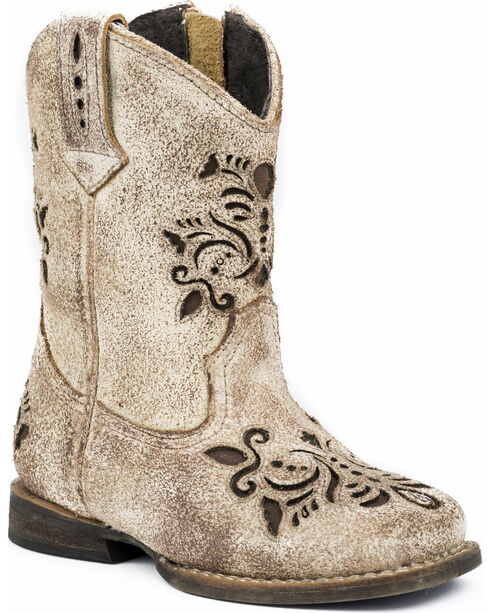 Roper Toddler Girls' Belle Floral Filigree Cutout Cowgirl Boots - Round Toe, , hi-res