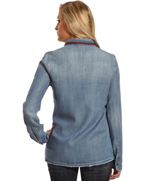 MM Vintage Women's Embroidered Denim Shirt, Indigo, hi-res