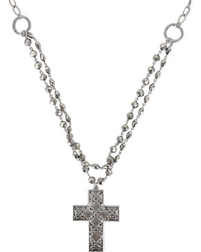 Shyanne Women's Cross Necklace, Silver, hi-res
