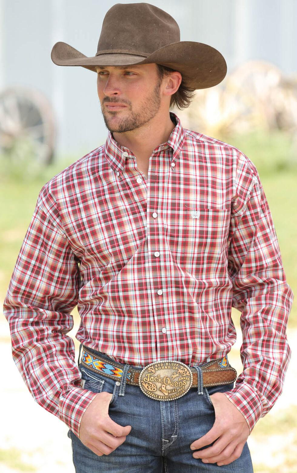 Cinch Men's Multi Plain Weave Long Sleeve Shirt , Multi, hi-res