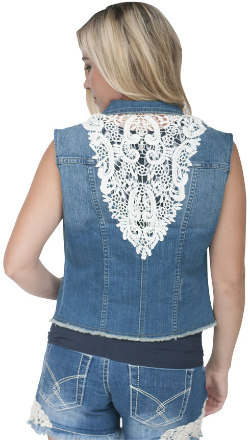 Petrol Women's Donna Lace Back Vest, Denim, hi-res