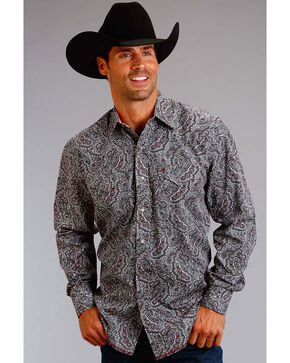 Stetson Men's Grey Paisley Print Long Sleeve Shirt , Grey, hi-res