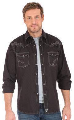 Wrangler Rock 47 Men's Black Embroidered Stitch Long Sleeve Snap Shirt, , hi-res