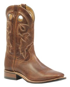 Boulet Rider Sole Cowboy Boots - Square Toe, Brown, hi-res