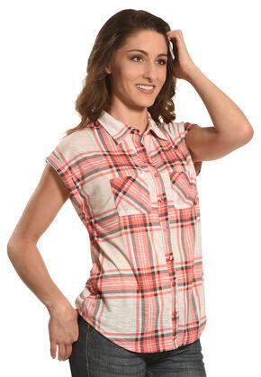 Derek Heart Women's 2 Pocket Plaid Short Sleeve Shirt - Plus Size, Pink, hi-res
