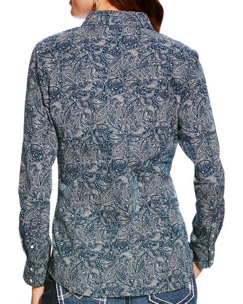 Ariat Women's Nordic Indigo Paisley Print Snap Shirt, Indigo, hi-res