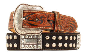 Nocona Nailhead Rectangle Concho Belt, Black, hi-res