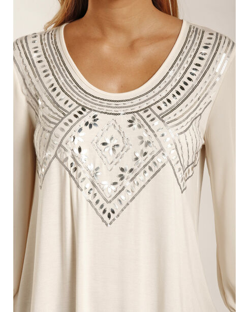Rock & Roll Cowgirl Women's Cream Silver Embroidered Top , Cream, hi-res
