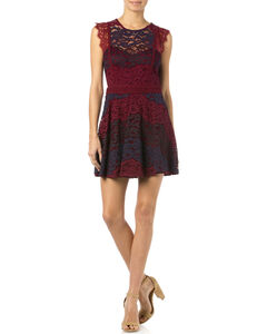 Miss Me Sleeveless Lace Dress, Burgundy, hi-res