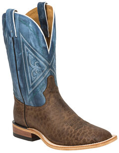 Tony Lama Chocolate Reverse Quill Print Americana Cowboy Boots - Square Toe , Chocolate, hi-res
