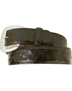Tony Lama Ostrich Print Leather Belt - Reg & Big, , hi-res