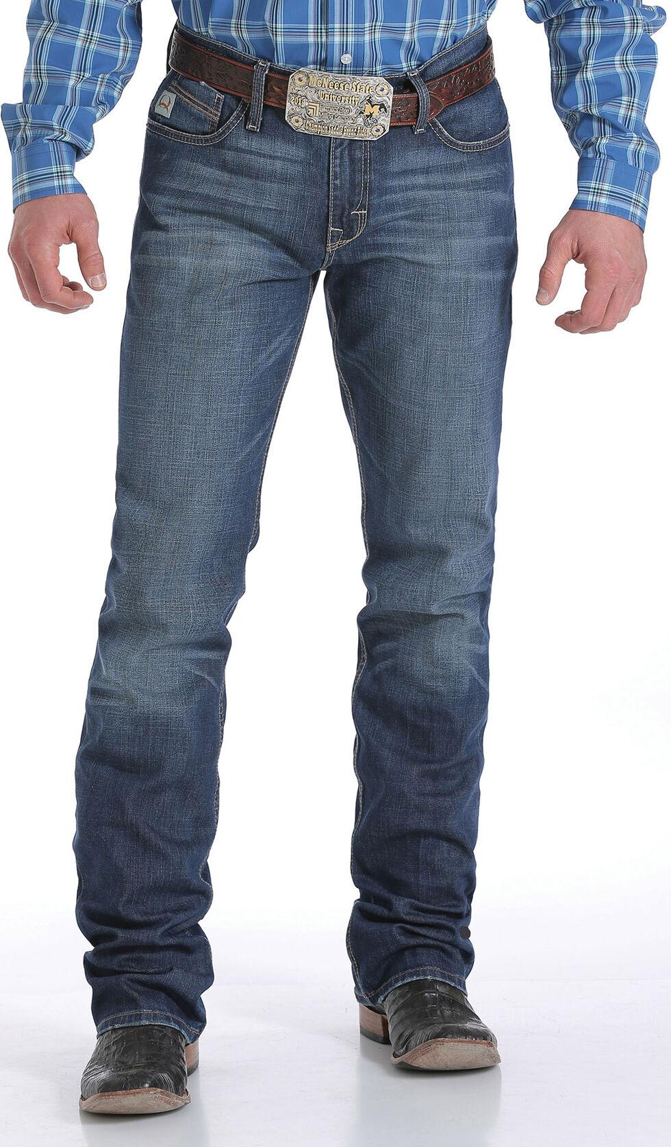 Cinch Men's Ian Performance Mid-Rise Slim Boot Cut Jeans, Indigo, hi-res
