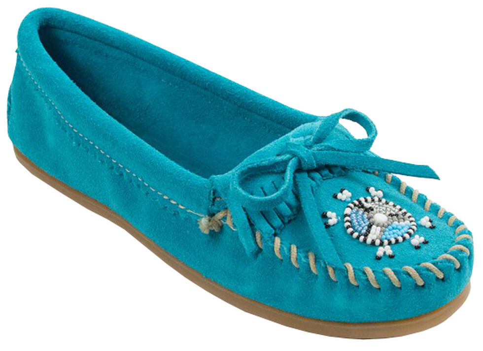 Minnetonka Women's Me To We Moccasins, Turquoise, hi-res