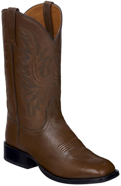 Lucchese Brown Jason Lone Star Calf Cowboy Boots - Square Toe , Brown, hi-res