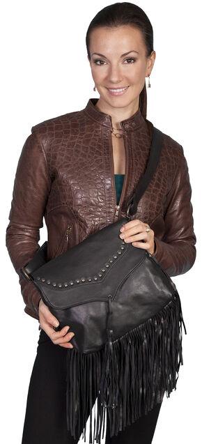 Scully Black Studded Fringe Shoulder Bag, Black, hi-res