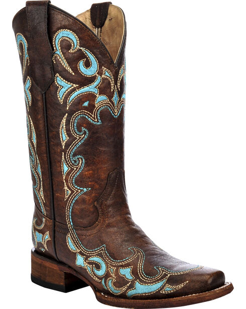 Circle G Women's Honey Embroidered Cowgirl Boots - Square Toe, Honey, hi-res
