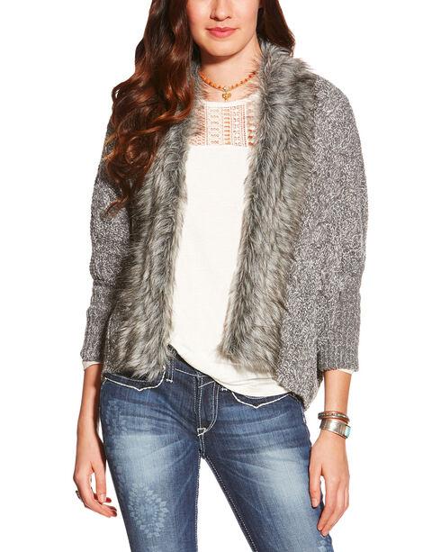 Ariat Women's Grey Fur Trim Cardigan Sweater , Grey, hi-res
