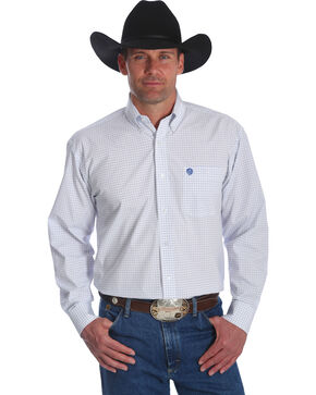 Wrangler George Strait Men's White Plaid Button Down Shirt - Tall, White, hi-res