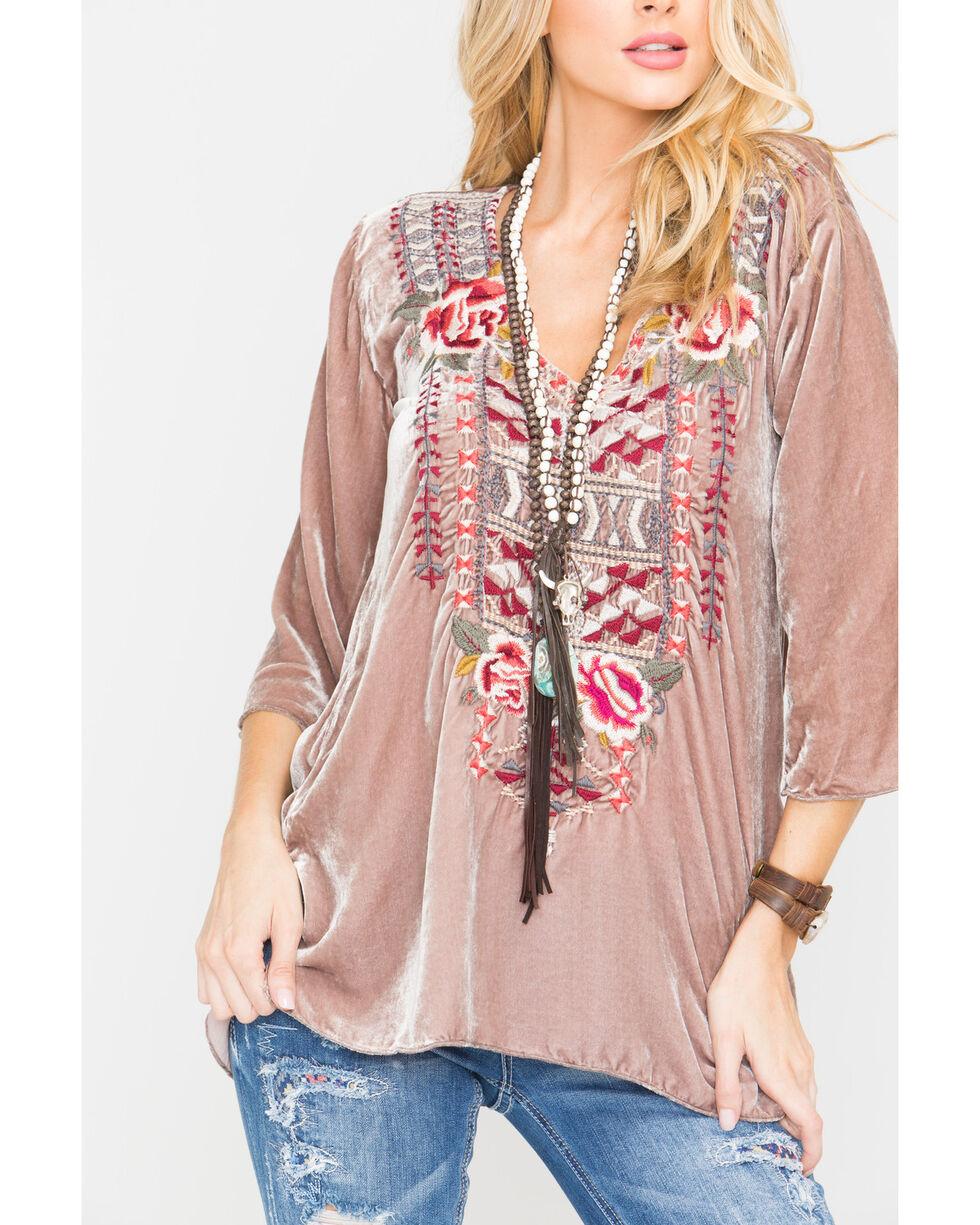 Johnny Was Women's Issoria Velvet V-Neck T-Shirt , Light Pink, hi-res