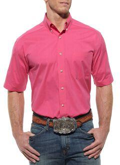 Ariat Solid Hot Pink Poplin Shirt, Hot Pink, hi-res