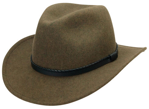 Black Creek Heathered Crushable Wool Men's Hat, Loden, hi-res
