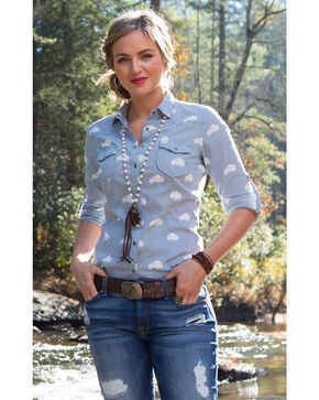 Ryan Michael Women's Buffalo Print Shirt , Light/pastel Blue, hi-res
