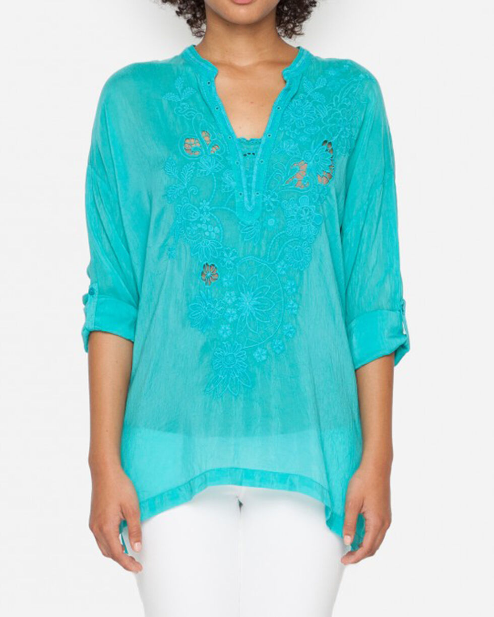 Johnny Was Women's Green Tropical Lusana Blouse , Green, hi-res