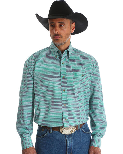 Wrangler Men's Blue George Strait One Pocket Print Shirt , Blue, hi-res
