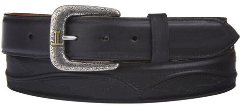 Lucchese Men's Black Calf Leather Seville Stitch Belt, Black, hi-res