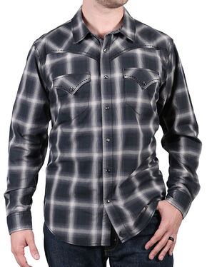 Cody James Men's Pyrite Black Plaid Shirt, Black, hi-res