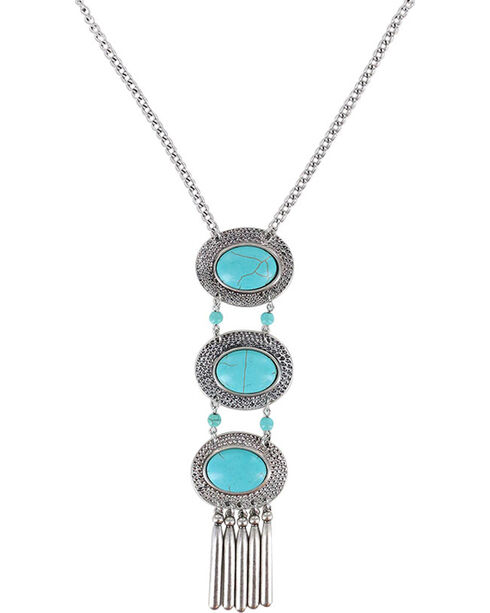 Shyanne Women's Layered Turquoise Concho Necklace, Turquoise, hi-res
