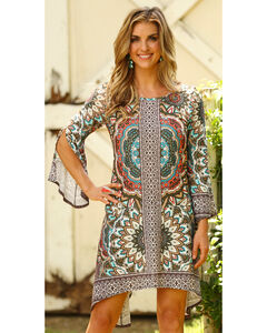 Wrangler Women's Brown Flutter Sleeve Dress , Brown, hi-res