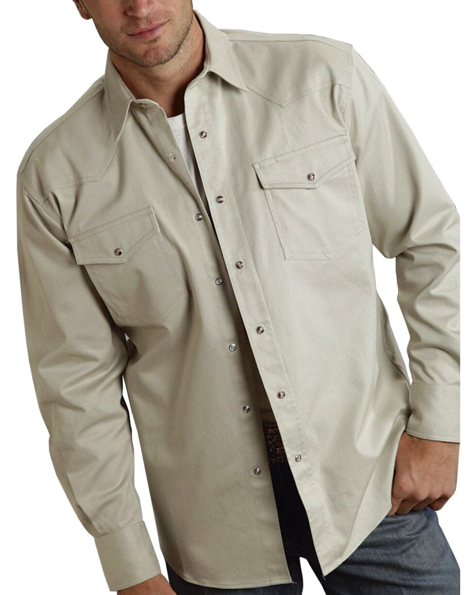 Roper Men's Taupe Solid Twill Long Sleeve Shirt, Brown, hi-res