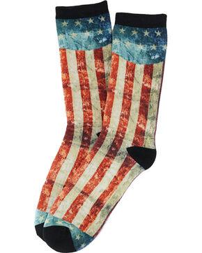 K.Bell Men's Distressed Americana Crew Socks , Red, hi-res