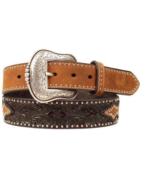 Smooth & Tooled Studded Leather Belt, Brown, hi-res