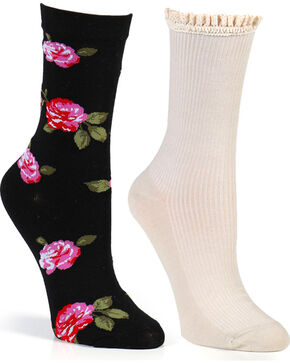 Shyanne Women's Floral and Solid Crew Sock Set , Multi, hi-res