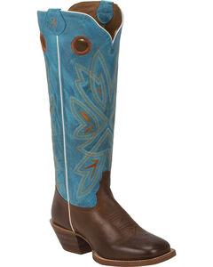 Tony Lama Tan Burnet 3R Buckaroo Cowgirl Boots- Square Toe , Brown, hi-res