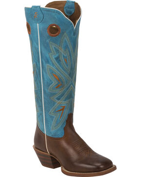 Tony Lama Tan Burnet 3R Buckaroo Cowgirl Boots- Square Toe , Brown, hi-res