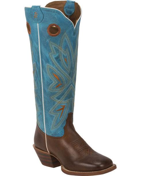 Tony Lama Tan Burnet 3R Buckaroo Cowgirl Boots- Square Toe , , hi-res