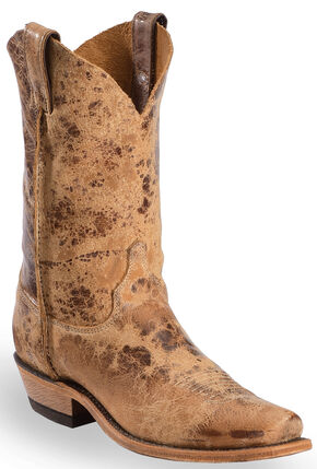 Justin Distressed Cowboy Boots - Narrow Square Toe, Tan, hi-res