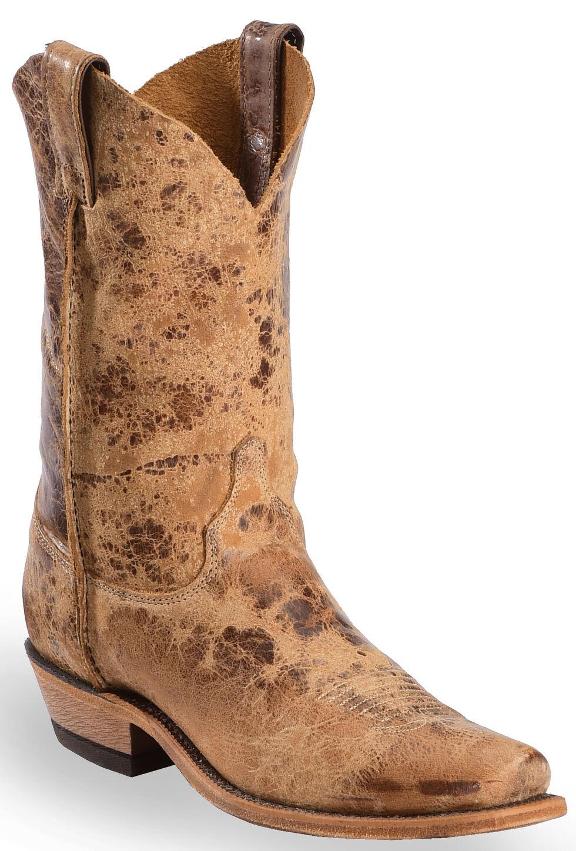 Justin Distressed Cowboy Boots - Narrow Square Toe, Tan, hi-res