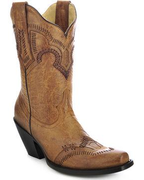 Corral Short Cowgirl Boots - Square Toe, Tan, hi-res