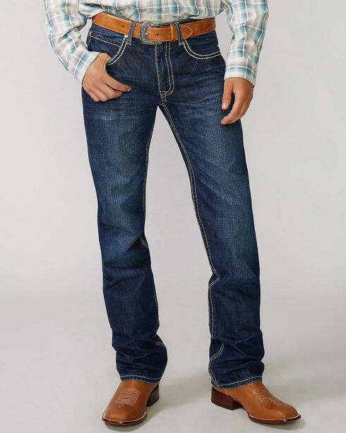 "Stetson Rock Fit Barbwire ""X"" Stitched Jeans - Big & Tall, Med Wash, hi-res"