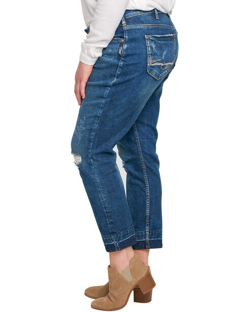 Silver Women's Indigo Dark Wash Sam Boyfriend Jeans - Plus, Indigo, hi-res