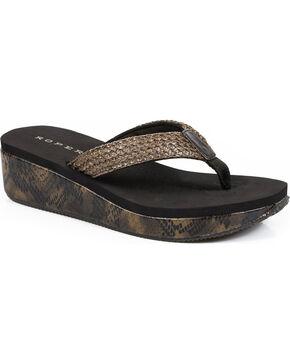 Roper Women's Brown Snake Print Wedge Sandals , Brown, hi-res