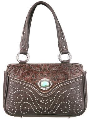Montana West Trinity Ranch Tooled Design Handbag, Dark Brown, hi-res