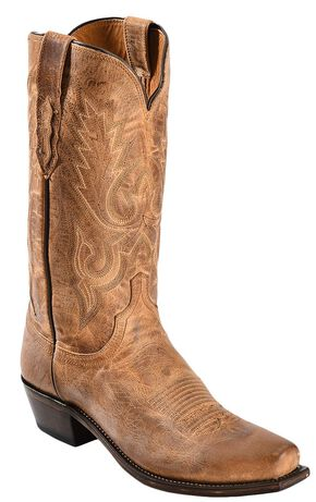Lucchese Handcrafted 1883 Mad Dog Goatskin Cowboy Boots - Square Toe, Tan, hi-res