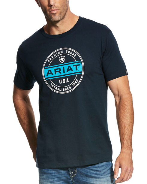 Ariat Men's Navy Premium Goods Tee , Navy, hi-res