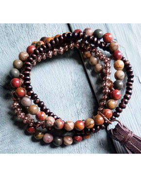 Jewelry Junkie Women's Picasso Jasper Multi-Strand Bracelet , Brown, hi-res